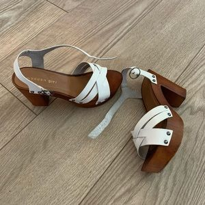 Madden Girl white and wood platform heels